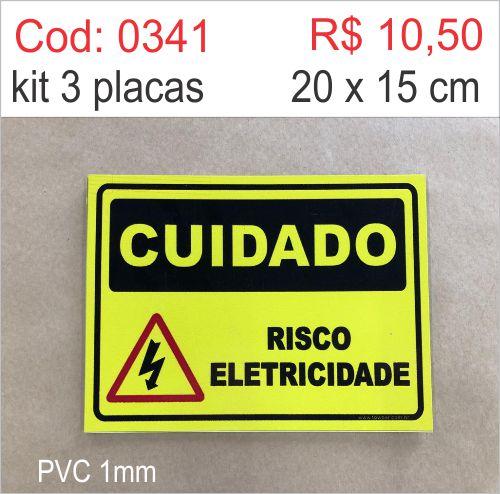 Saldão - Placa Cuidado - Risco Eletricidade  - Towbar Sinalização de Segurança