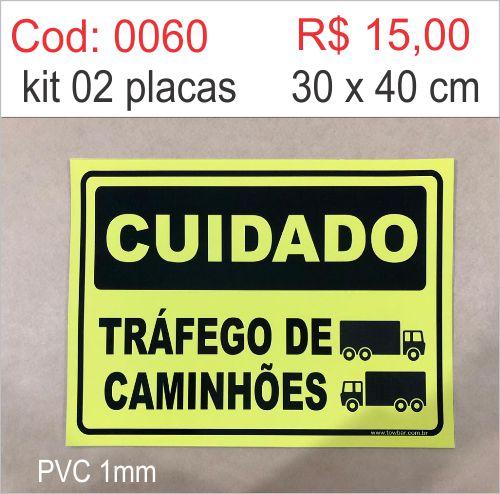 Saldão - Placa Cuidado Tráfego de Caminhões  - Towbar Sinalização de Segurança