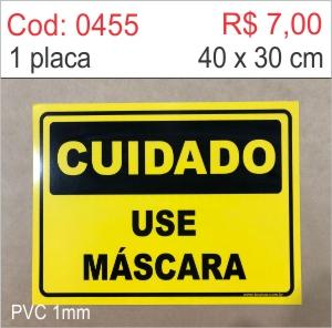 Saldão - Placa Cuidado - Use Máscara  - Towbar Sinalização de Segurança