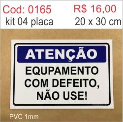 Saldão - Placa Equipamento com Defeito Não Use!  - Towbar Sinalização de Segurança