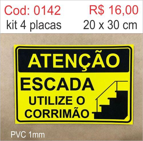 Saldão - Placa Escada Utilize o Corrimão  - Towbar Sinalização de Segurança