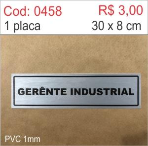 Saldão - Placa Identificação Gerente Industrial  - Towbar Sinalização de Segurança