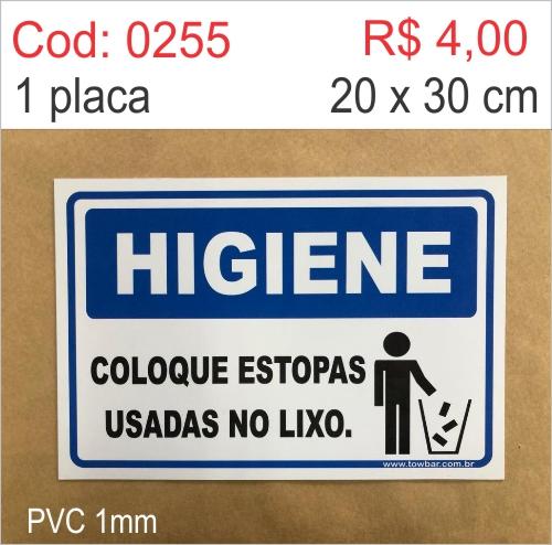 Saldão - Placa Higiene - Coloque Estopas Usadas No Lixo   - Towbar Sinalização de Segurança