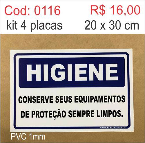 Saldão - Placa Higiene - Conserve Seus Equipamentos de Proteção Sempre Limpos  - Towbar Sinalização de Segurança