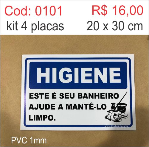 Saldão - Placa Higiene - Este é Seu Banheiro Ajude a Mantê-lo Limpo  - Towbar Sinalização de Segurança