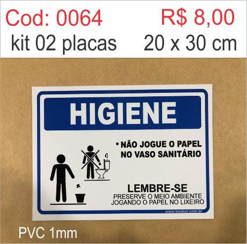 Saldão - Placa Higiene Não Jogue o Papel no Vaso Sanitário  - Towbar Sinalização de Segurança