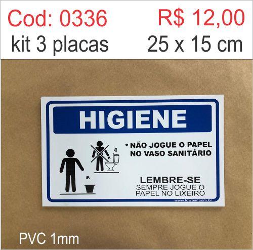 Saldão - Placa Higiene - Não Jogue o Papel no Vaso Sanitário  - Towbar Sinalização de Segurança