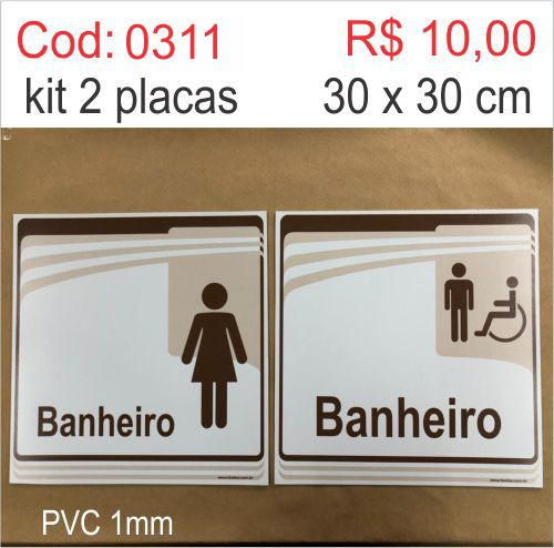 Saldão - Placa Identificação Banheiro Feminino e Masculino Adaptado  - Towbar Sinalização de Segurança