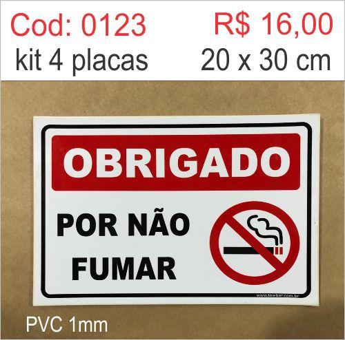 Saldão - Placa Obrigado Por Não Fumar  - Towbar Sinalização de Segurança
