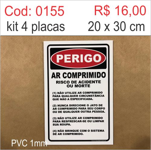 Saldão - Placa Perigo - Ar Comprimido Risco de Acidente ou Morte  - Towbar Sinalização de Segurança
