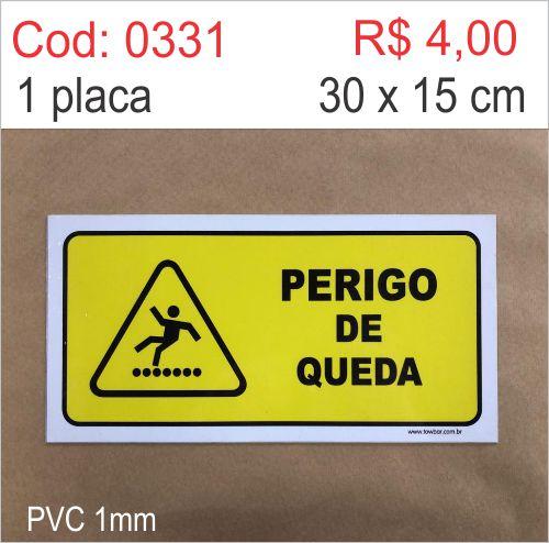 Saldão - Placa Perigo de Queda  - Towbar Sinalização de Segurança