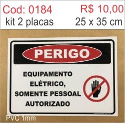 Saldão - Placa Perigo Equipamento Elétrico Somente Pessoal Autorizado  - Towbar Sinalização de Segurança