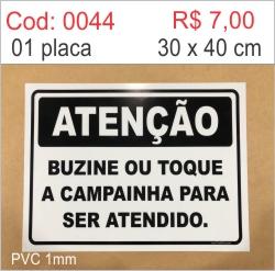Saldão - Placa Atenção Buzine ou Toque a Campainha Para Ser Atendido  - Towbar Sinalização de Segurança