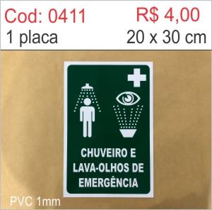 Saldão - Placa Chuveiro Lava-olhos de Emergência  - Towbar Sinalização de Segurança