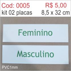 Saldão - Placa de Identificação Feminino e Masculino  - Towbar Sinalização de Segurança