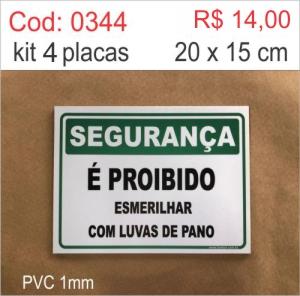 Saldão - Placa É Proibido Esmerilhar com Luvas de Pano  - Towbar Sinalização de Segurança