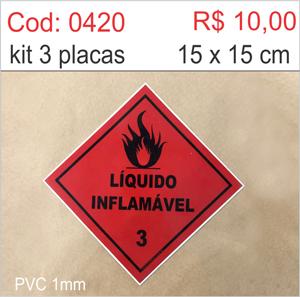 Saldão - Placa Líquido Inflamável  - Towbar Sinalização de Segurança