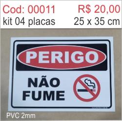 Saldão - Placa Perigo Não Fume  - Towbar Sinalização de Segurança