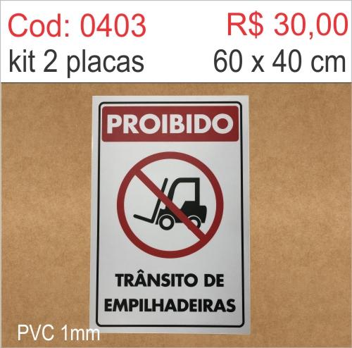 Saldão - Placa Proibido Trânsito de Empilhadeiras  - Towbar Sinalização de Segurança