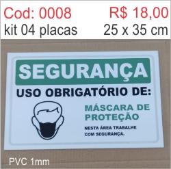 Saldão - Placa Segurança Uso Obrigatório de: Máscara de Proteção   - Towbar Sinalização de Segurança