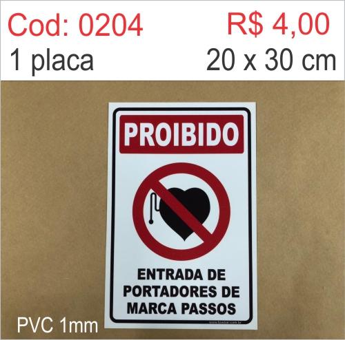 Saldão -  Placa Proibido - Entrada de Portadores de Marca Passos  - Towbar Sinalização de Segurança