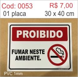 Saldão - Placa Proibido Fumar Neste Ambiente  - Towbar Sinalização de Segurança