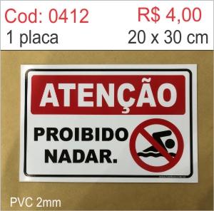 Saldão - Placa Proibido Nadar  - Towbar Sinalização de Segurança