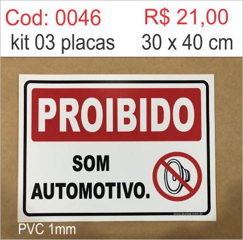 Saldão - Placa Proibido Som Automotivo  - Towbar Sinalização de Segurança