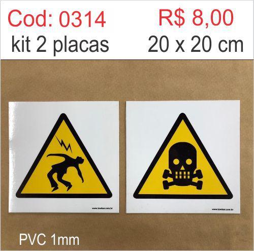 Saldão - Placa Risco de Choque Elétrico e Morte  - Towbar Sinalização de Segurança