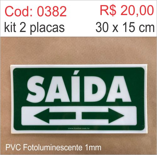 Saldão - Placa Saída Direita ou Esquerda   - Towbar Sinalização de Segurança