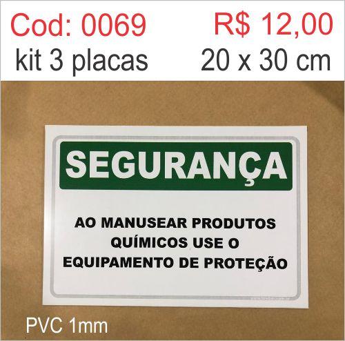 Saldão - Placa Segurança - Ao Manusear Produtos Químicos Use Equipamento de Proteção  - Towbar Sinalização de Segurança