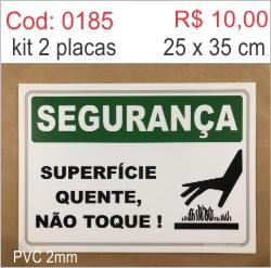 Saldão - Placa Segurança Superfície Quente, Não Toque!  - Towbar Sinalização de Segurança