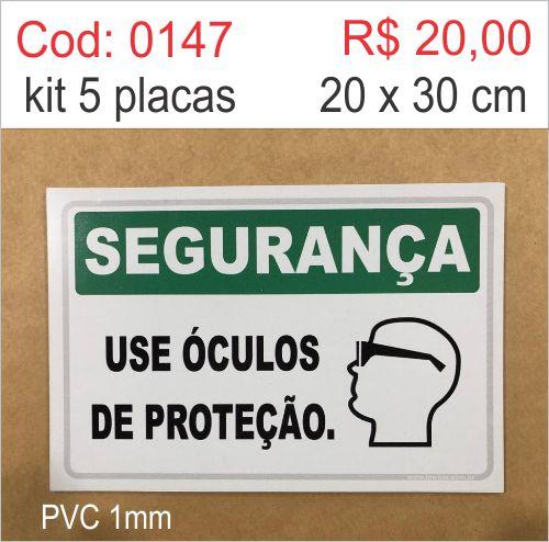 Saldão - Placa Segurança - Use Óculos de Proteção  - Towbar Sinalização de Segurança