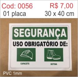 Saldão - Placa Segurança Uso Obrigatório de Capacete e Botina  - Towbar Sinalização de Segurança
