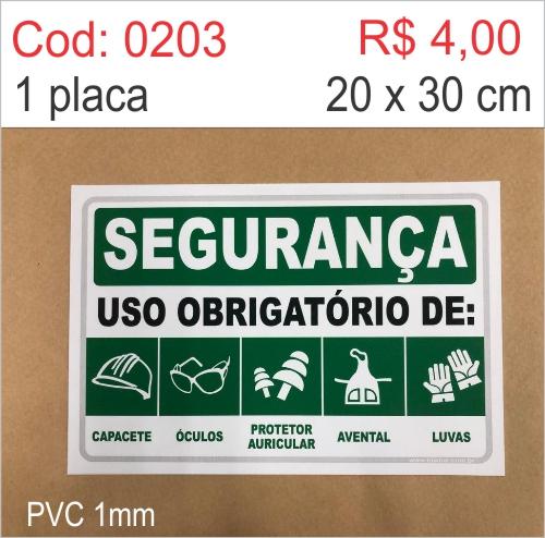 Saldão - Placa Segurança - Uso Obrigatório de: Capacete, Óculos, Protetor Auricular, Avental, Luvas  - Towbar Sinalização de Segurança