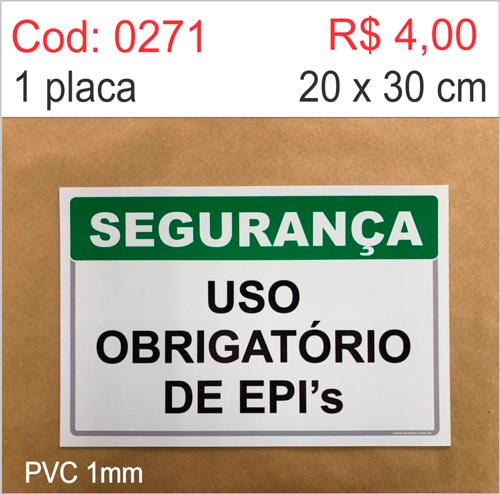 Saldão - Placa Segurança - Uso Obrigatório de EPI