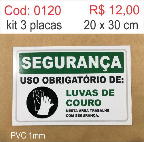 Saldão - Placa Segurança - Uso Obrigatório de Luvas de Couro  - Towbar Sinalização de Segurança
