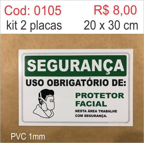 Saldão - Placa Segurança - Uso Obrigatório de Protetor Facial  - Towbar Sinalização de Segurança