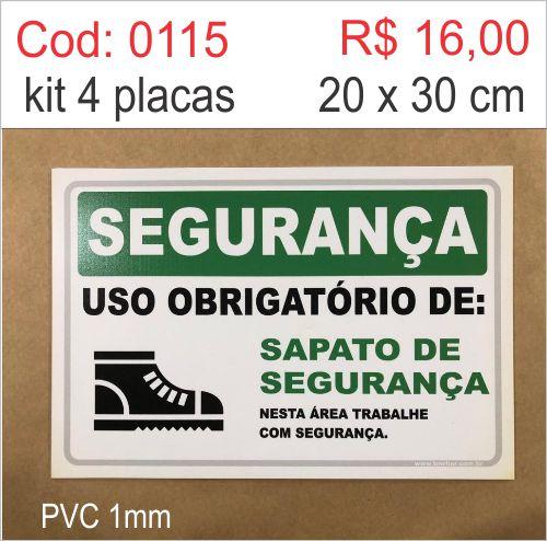 Saldão - Placa Segurança - Uso Obrigatório de Sapato de Segurança   - Towbar Sinalização de Segurança