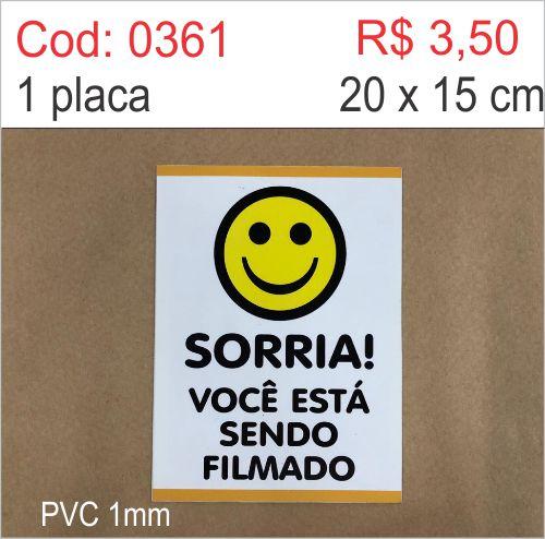 Saldão - Placa Sorria Você Está Sendo Filmado  - Towbar Sinalização de Segurança