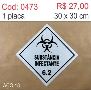 Saldão - Placa Substância infectante  - Towbar Sinalização de Segurança