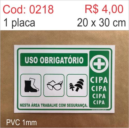 Saldão - Placa Uso Obrigatório: Bota, Óculos, Auricular  - Towbar Sinalização de Segurança
