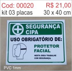 Saldão - Placa Segurança Cipa - Uso Obrigatório de Protetor Facial  - Towbar Sinalização de Segurança