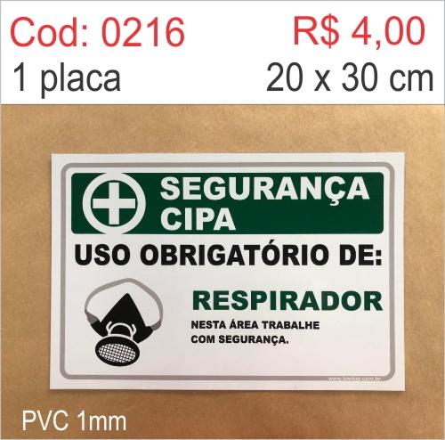 Saldão - Placa Segurança Cipa - Uso Obrigatório de Respirador   - Towbar Sinalização de Segurança