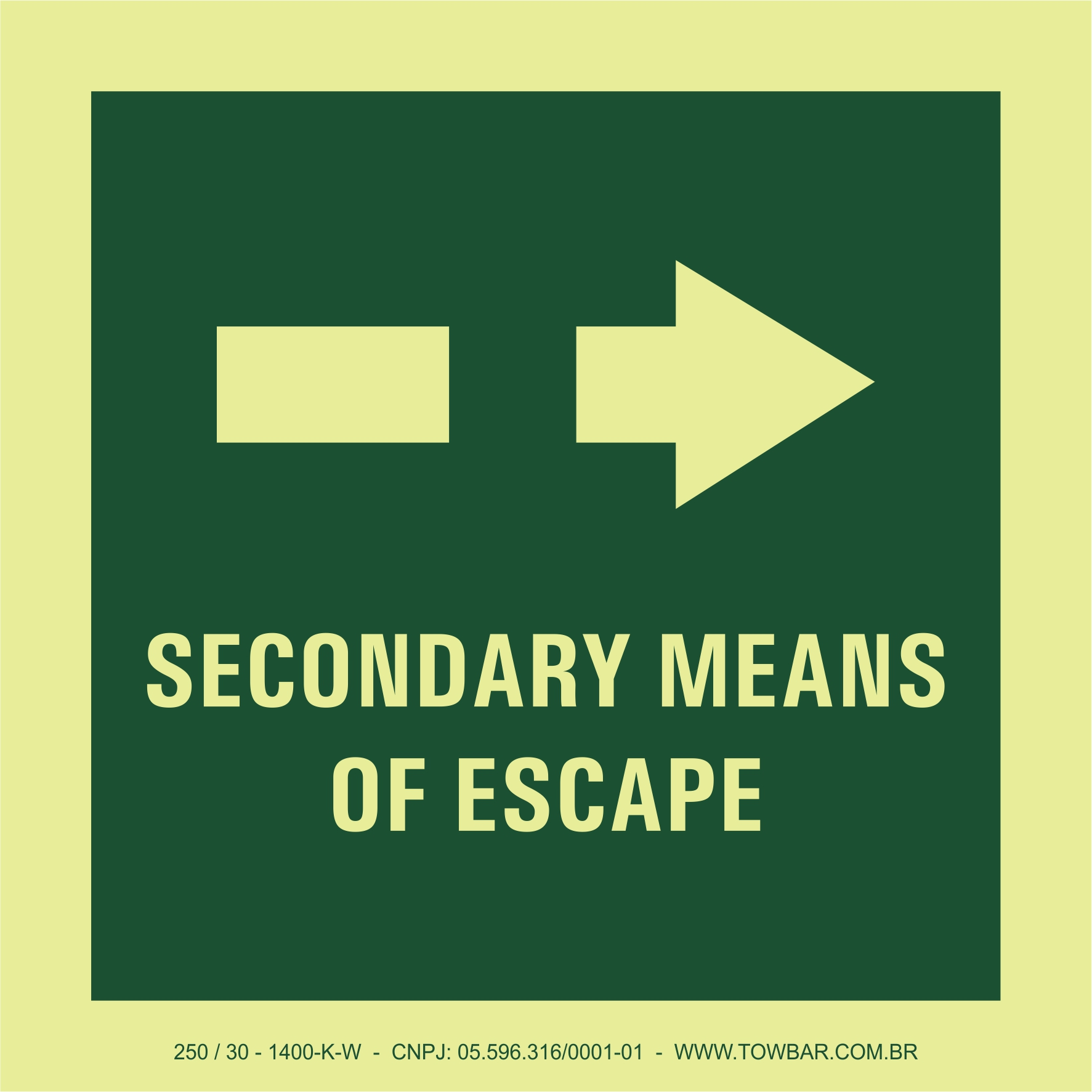 Secondary Means of Escape  - Towbar Sinalização de Segurança