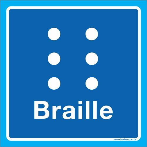 Placa símbolo braille  - Towbar Sinalização de Segurança