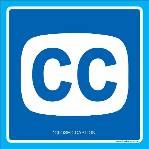 Placa símbolo Closed Caption (legendas ocultas)  - Towbar Sinalização de Segurança