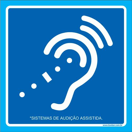 Placa sistema de audição assistida   - Towbar Sinalização de Segurança