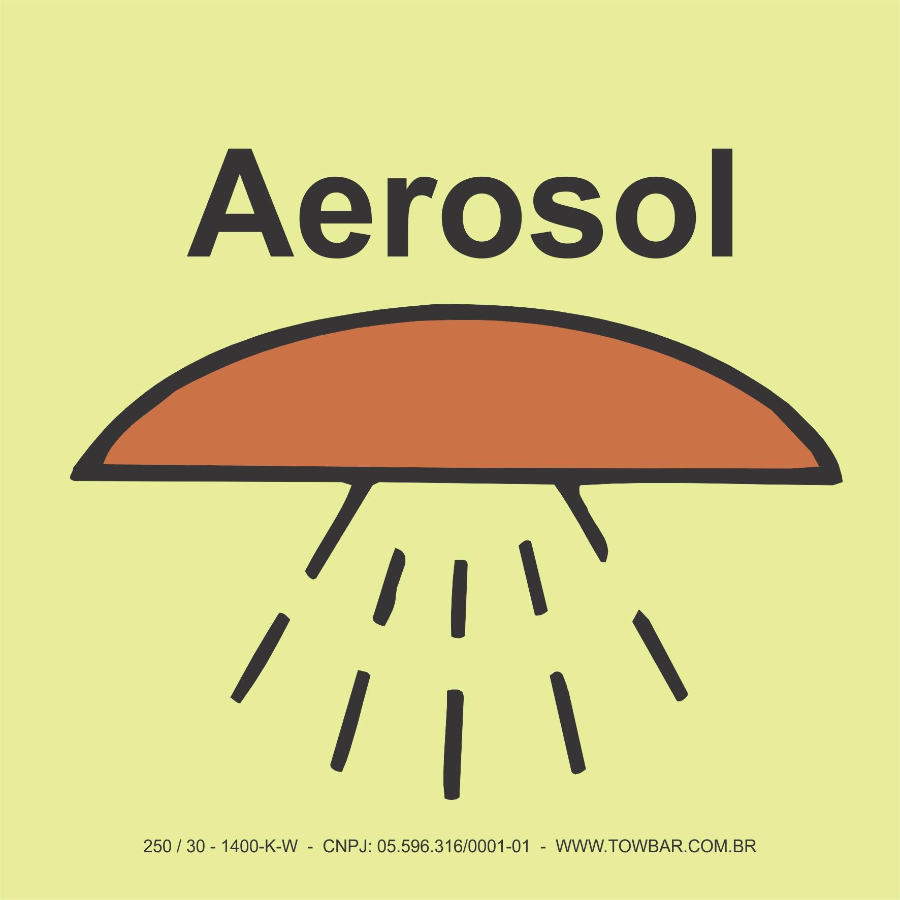 Espaço protegido por sistema aerosol (Space protected by aerosol system)  - Towbar Sinalização de Segurança