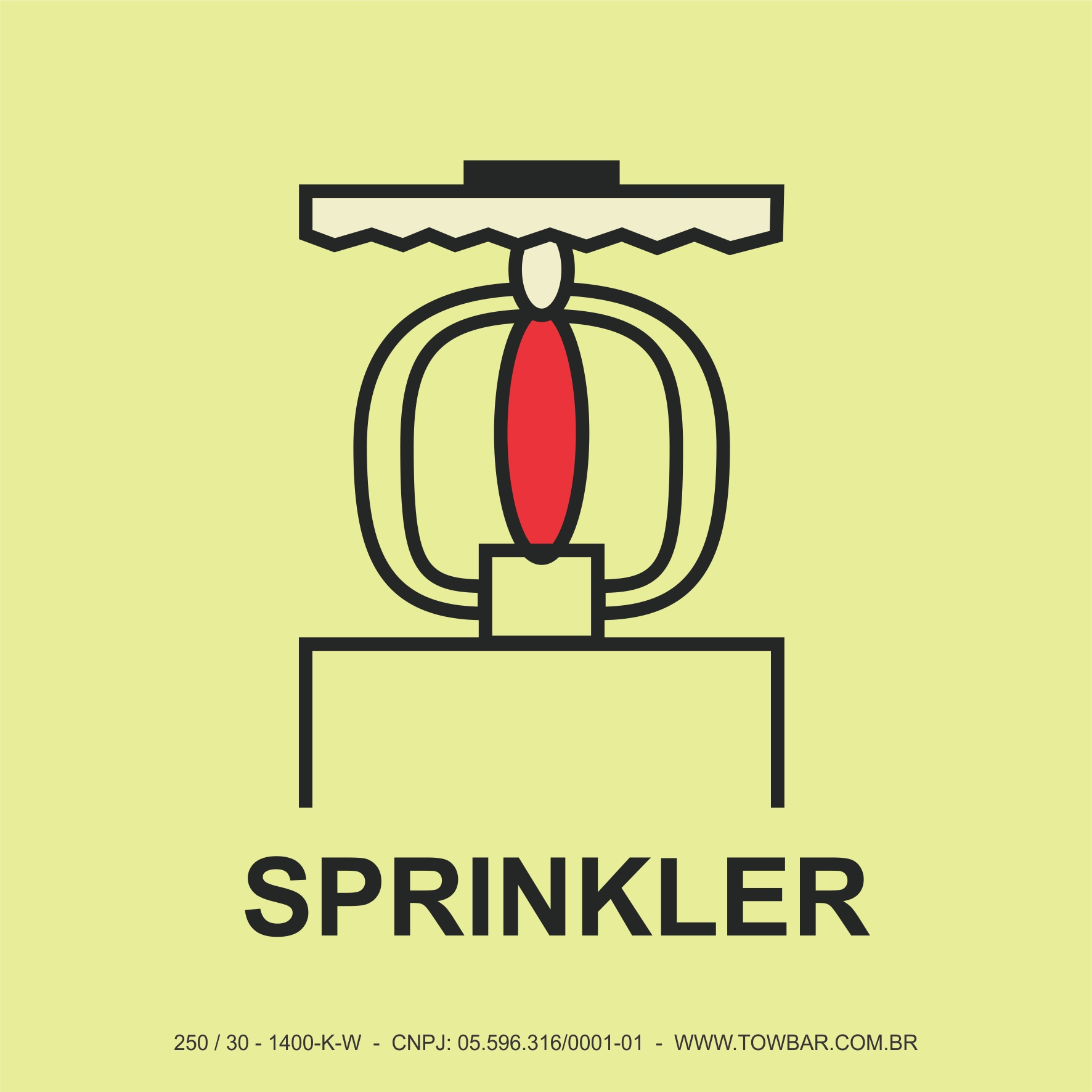 Espaço Protegido com Sprinkler (Space Protected By Sprinkler)  - Towbar Sinalização de Segurança